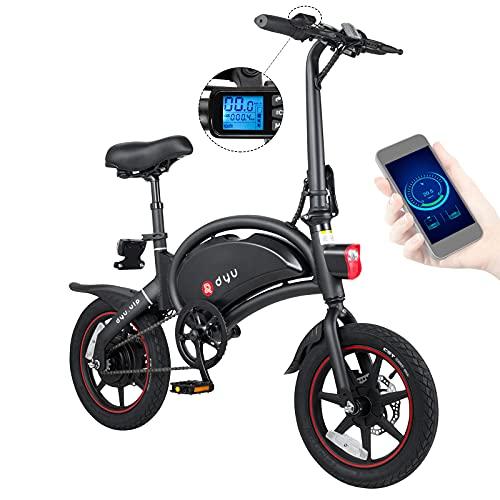 DYU D3 Plus Klappbares E Bike 14 Zoll Smart E-Bike Klapprad Elektrofahrrad für Erwachsene,Faltbars EBike Frauen Elektrofahrräder mit Phone APP,LCD Anzeige,250W 36V/10Ah Batterie,Doppelscheibenbremse
