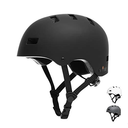 Vihir Erwachsene Fahrradhelm Skaterhelm E-Scooter E-Roller BMX Fahradhelm Herren Damen Sport Helm für Männer & Frauen Schwarz Weiß Dunkelgrau (M 53-57cm, Schwarz)