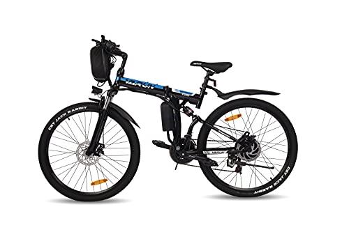 VARUN E-Bike Klappbar, Damen Herren 26 Zoll Elektro Mountainbike mit 250W Motor, Wechselbarer 36 V / 8 Ah Akku,Shimano 21-Gänge Faltbar Elektrofahrrad für Pendeln zur Arbeit und Outdoor Reisen