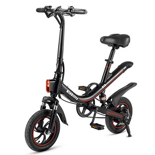 Festnight 12 Zoll Klapp Elektrofahrrad Power Assist E Bike 25-30 km Reichweite mit Stoßdämpfer für den Pendelverkehr