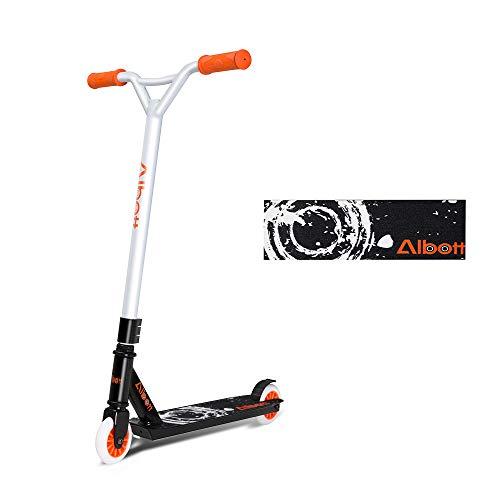 Albott Stunt Scooter Freestyle Tretroller- 360 Grad Steet Fixed Bar für Kinder Erwachsene Trickscooter, Freestyle-Roller, Funscooter (Orange)