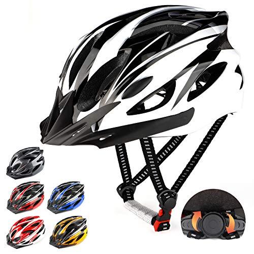 RaMokey Fahrradhelm für Erwachsene Herren Damen, EPS-Körper + PC-Schale, MTB Mountainbike Helm mit Abnehmbarem Visier und Polsterung, Verstellbar Radhelm 57-63cm (Weiß + Schwarz)