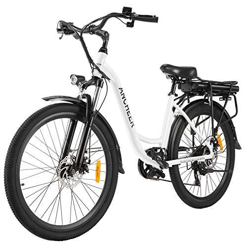 ANCHEER 26' Elektrofahrrad, Stadt E-Bike Cruiser mit Abnehmbarer 12,5Ah-Akku im Heckrahmen 30 Meilen Reichweite Doppelscheibenbremsen (Stadtfahrrad-Weiß)