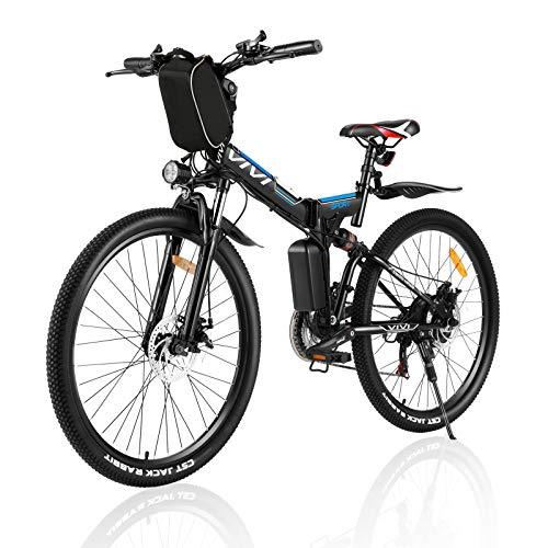 Vivi Ebike Mountainbike 26 Zoll Elektrofahrrad Klappbar Für Herren und Damen,250W E Bike Shimano 21-Gang Elektrisches Fahrrad mit Abnehmbare 8 Ah 36V Lithium-Ionen Batterie (Blau Schwarz)