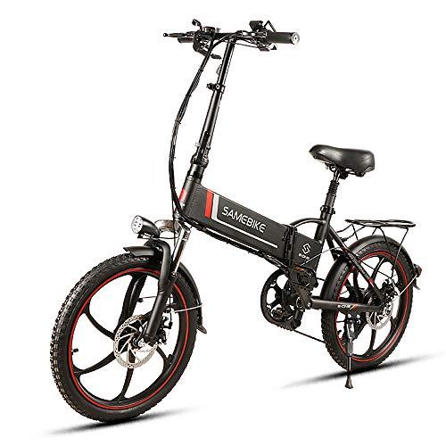 SAMEBIKE 20 Zoll Zusammen klappbares Elektrofahrrad Faltbares Elektrisches Fahrrad 350W 48V 10.4Ah,Elektrofahrrad Mountainbike E-Bike Scooter 7-Gang Schalthebel,Smartphone-Halter