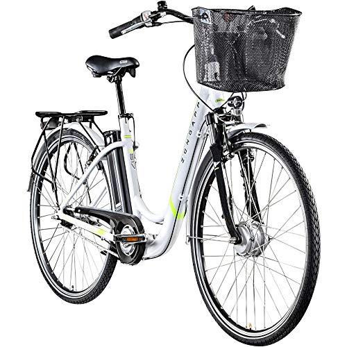 Zündapp Z517 700c E-Bike E Cityrad Damenrad Pedelec Elektrofahrrad Damen Fahrrad 28 Zoll (weiß/grün, 48 cm)